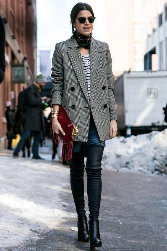 Tailored blazer in combination with jeans and the striped blouse looks absolutely man inspired. However, this combination has a woman inspired finish - over the knee boots. They will give you bold, very appropriate look for the office. Don't forget to add details such as a scarf or red clutch.