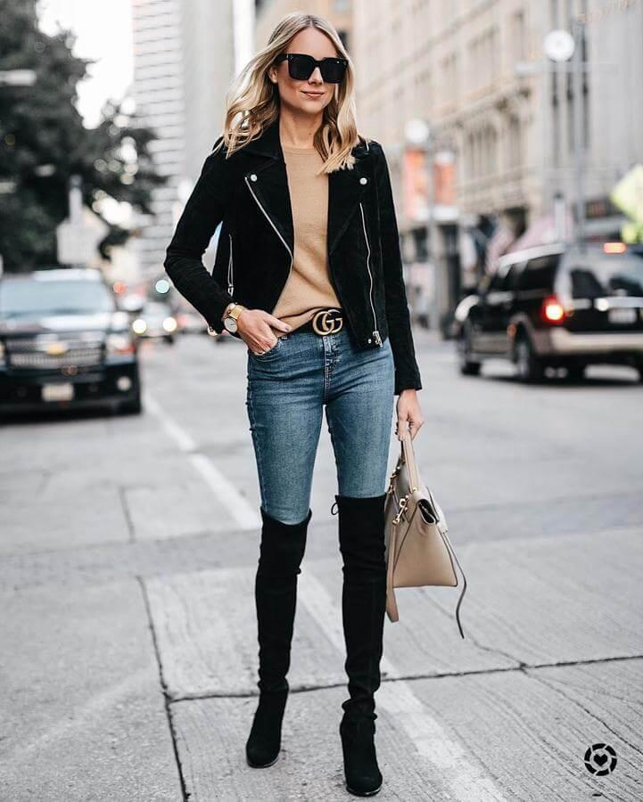 Are you looking for a perfect everyday combination? Well, I present you one. Skinny jeans, a cashmere sweater, black leather jacket, and suede over-the-knee boots are perfect items to wear for all events during the day. From casual city stroll or shopping to the dinner with your friends - I can assure you, no matter where you go, you will look fantastic.