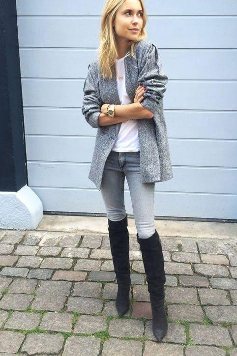 Neutral colors such as grey, white or black are perfect to achieve a chic Scandinavian style. Nothing can beat right monochrome outfit that can be worn for many different occasions. You can even try this look as your workwear.