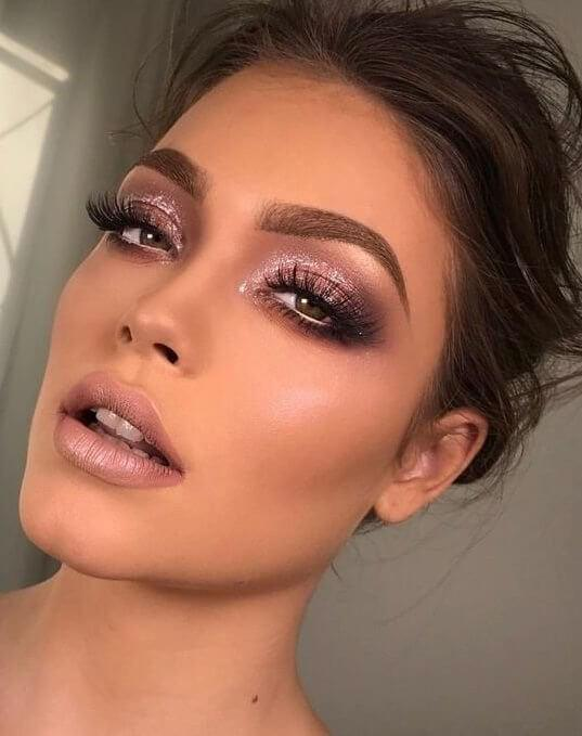 Glitter and Dark Natural Makeup