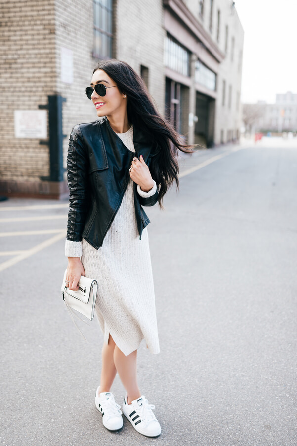 Leather Jacket and Sweater Dress
