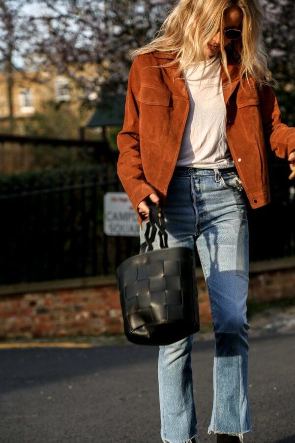 Wide Jeans and Suede Jacket