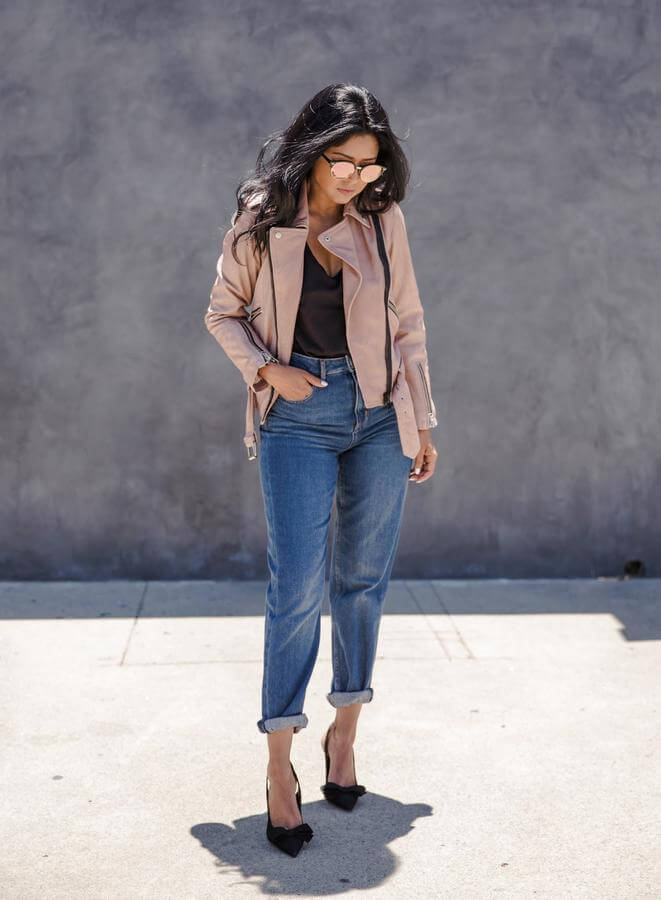 High Waist Jeans and Pink Leather Jacket