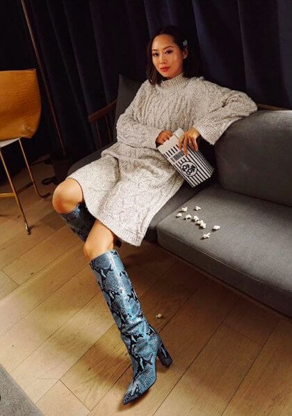 Sweater Dress and Snakeskin Boots