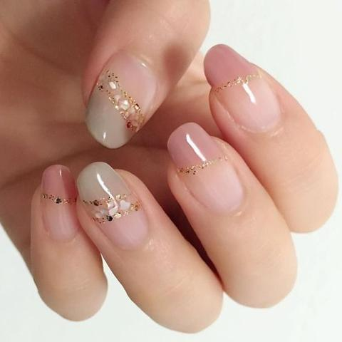 Gold Rhinestones and Nude Pink Nails