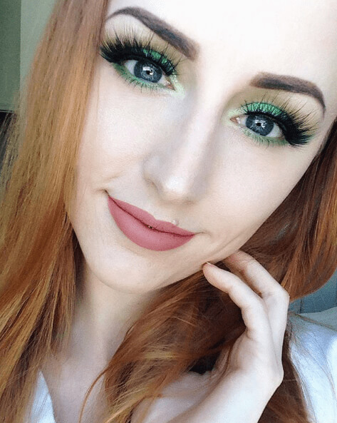 False Lashes and Green Eyeshadow for Blue Eyes