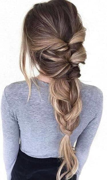 Messy French Braid with Highlights
