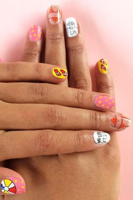 Nail Design with Summer Motifs