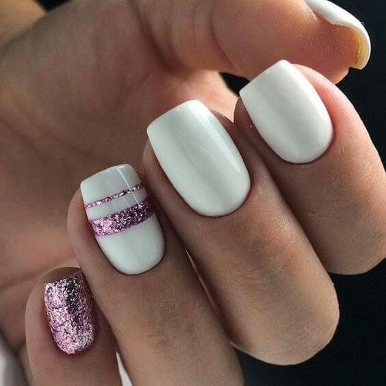White Nails with Pink Glitter