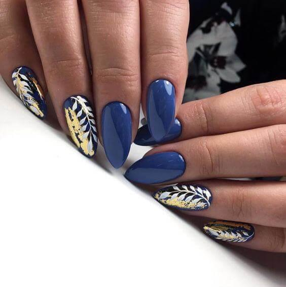 Navy-Blue and Gold Foils Nail Desing