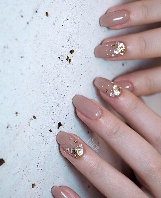 Nude Nails Gold Rhinestones