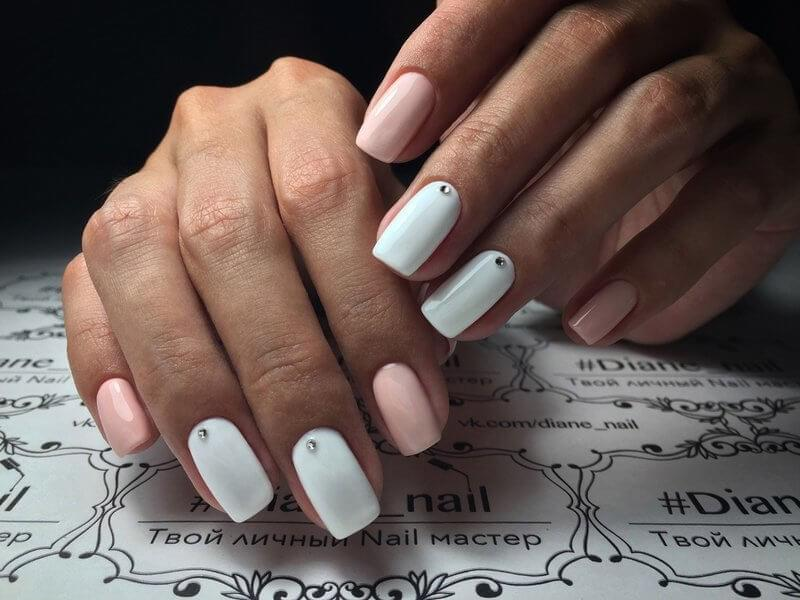 White and Soft Pink Nails