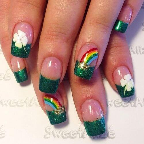 French Manicure with Rainbow