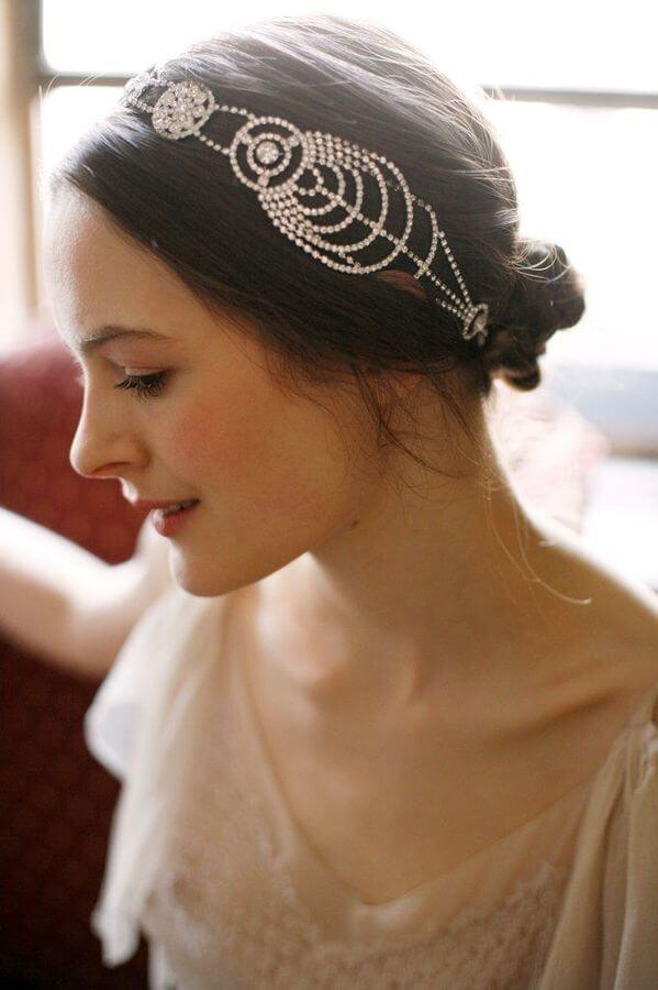 Perfect wedding hairstyle with retro accessory
