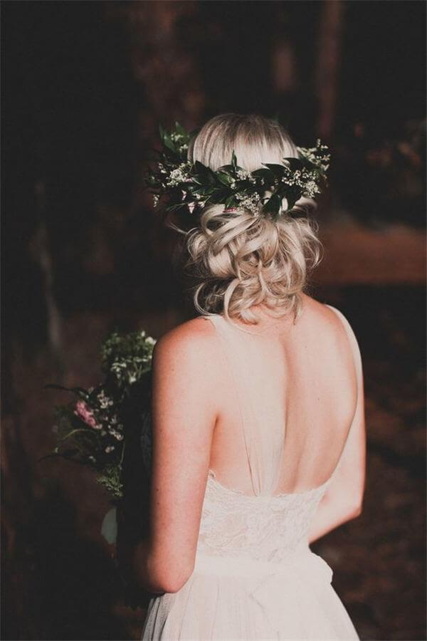 Hairstyle with greenery crown