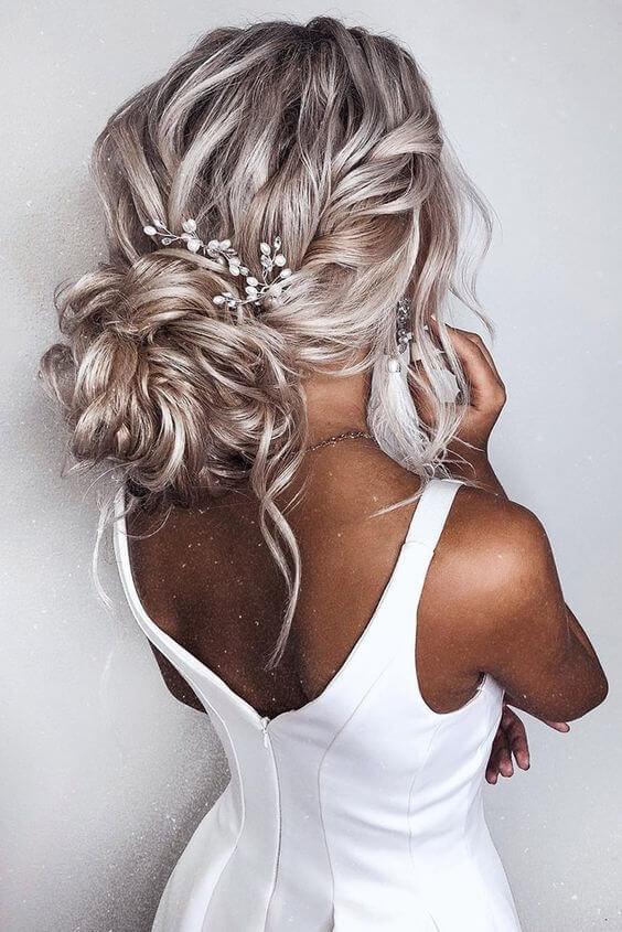 Platinum Updo with Braids and Waves