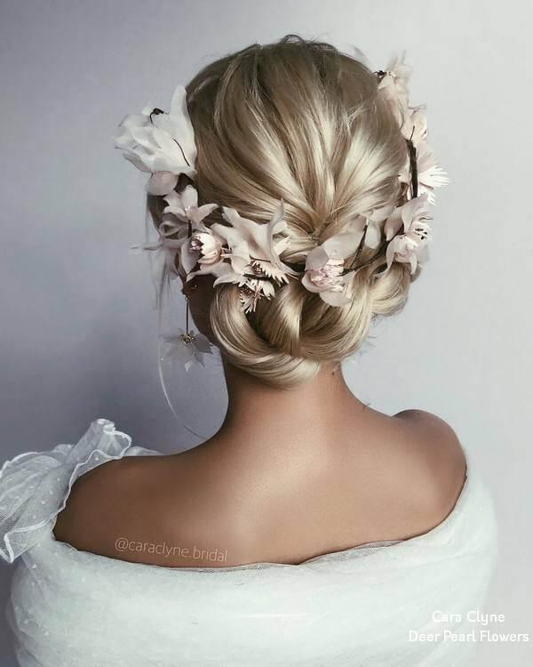 Hairstyle with flower accessories
