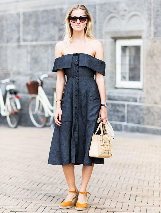 Off-the-Shoulder Linen Dress