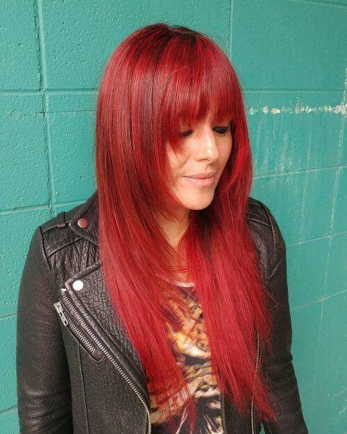 Red Shade and Bangs