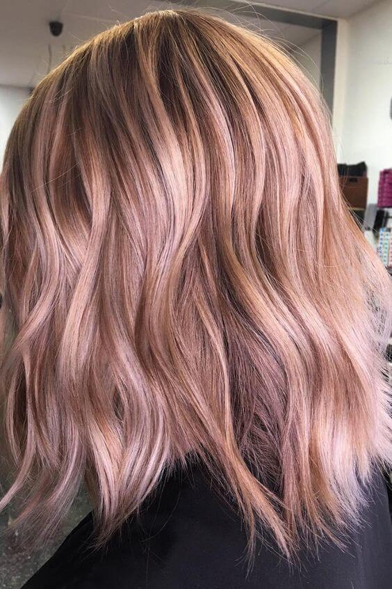 Hair with Dusty Strawberry Balayage