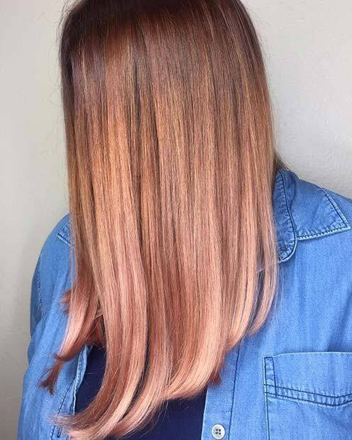 Straight Rose Gold Hairstyle