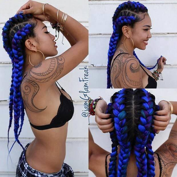 Purple and Blue Braids