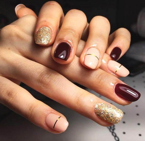 Glam Burgundy and Gold Glitter