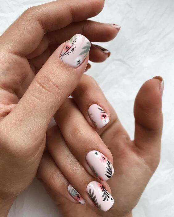 Blush with Floral Short Nails Design