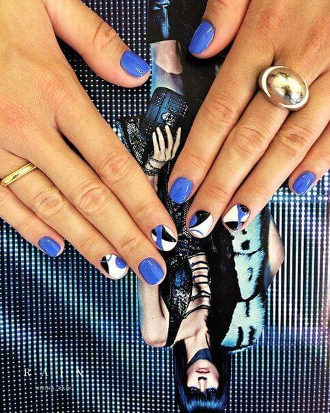 Blue, White, and Black Nails