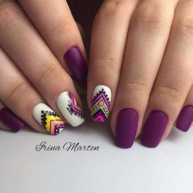 Purple Nails with Aztec Patterns