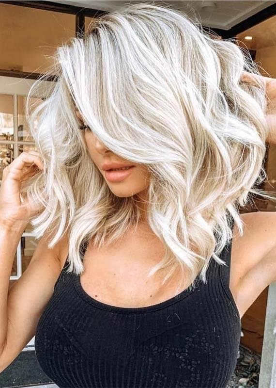 Platinum Blonde Lob with Waves