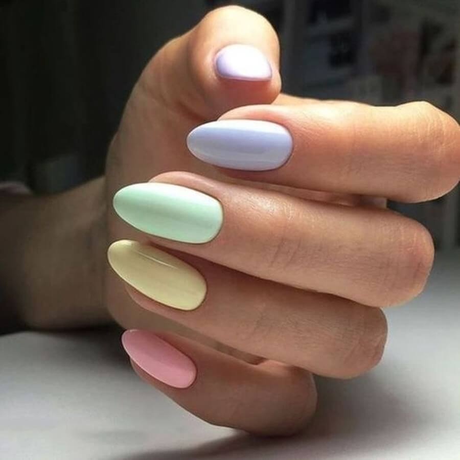 Rainbow Almond Shaped Nails