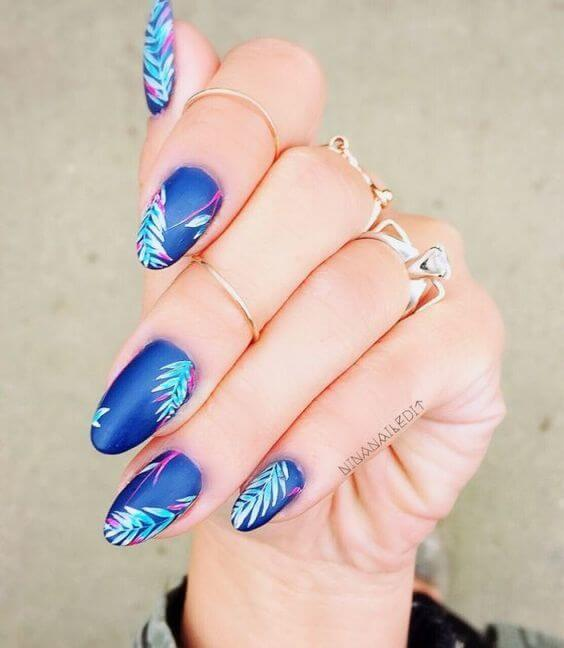 Blue Nails with Floral Design