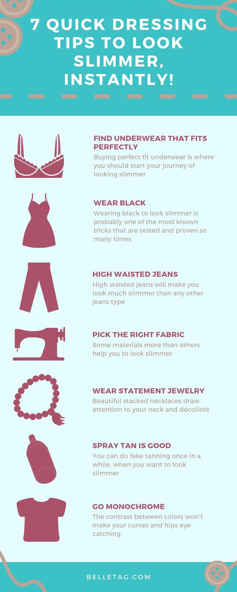 How to look slimmer in a dress? A timeless question that bothers many girls around the world. An insightful #infographic with some of the best-proven tips that you should try. #lookingslimmer #outfittips #slimlook #lookingthinner