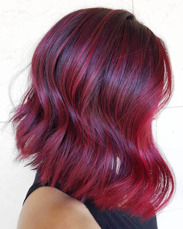 Burgundy Lob with Waves