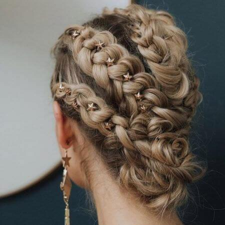 Delicate Accessories on Braided Hair
