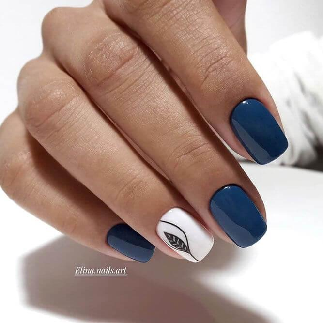 Blue and White Square Nails