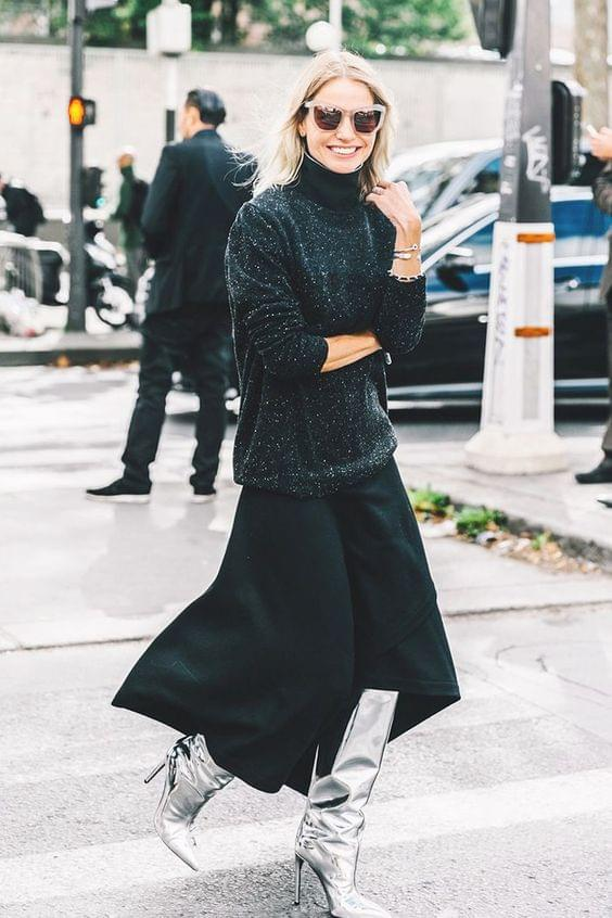 Learn how to style a maxi skirt. Here's a maxi skirt with a sweater