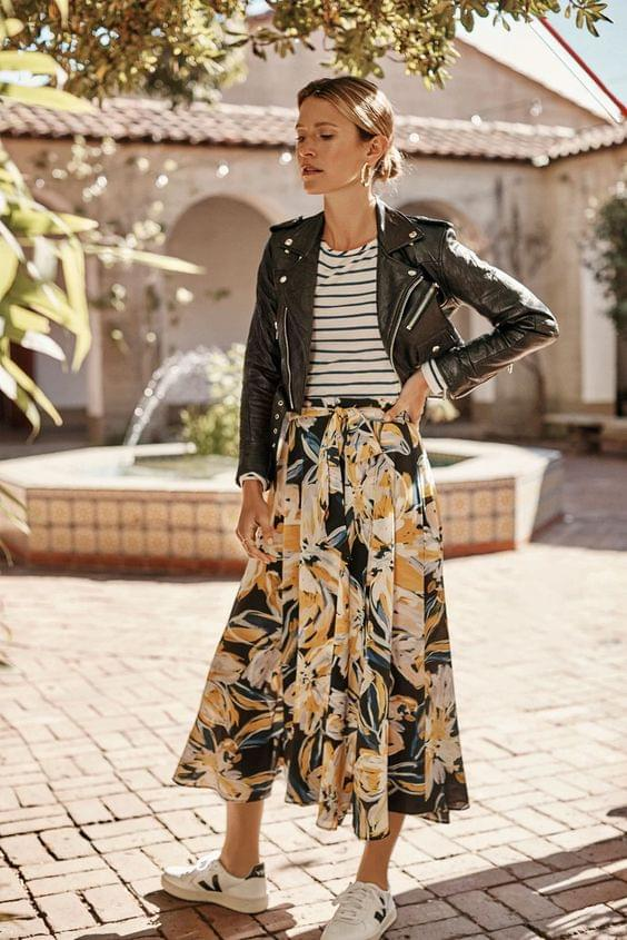 Maxi Skirt Styled with Leather Jacket