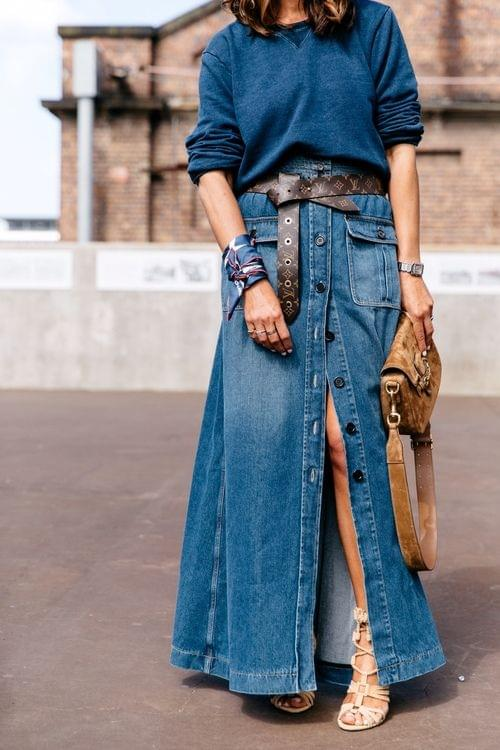 Maxi Skirt Styled with a Belt