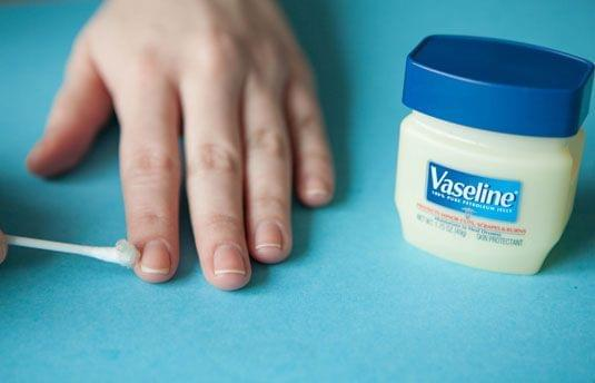 Vaseline for Excess Polish Cleaning