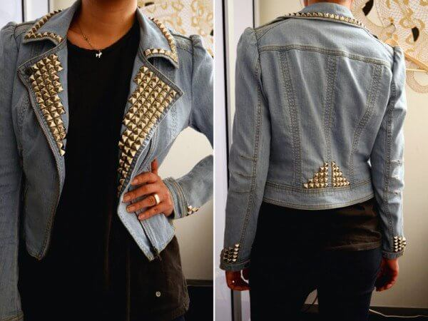 A simple and low-cost idea to add some sparkle to your old denim jacket.