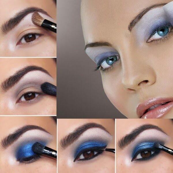 Smokey eyes using blue