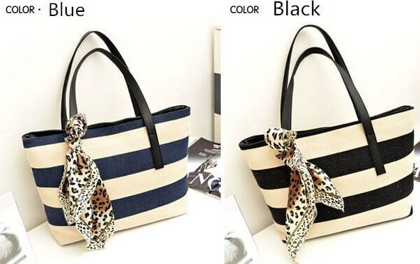 Photo shows a blue or black striped handbag to choose from