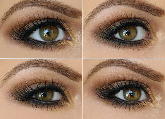 Brown and gold eye shadow with mascara