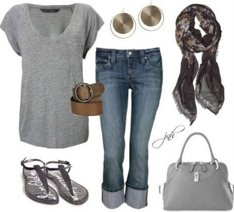 Basic grey shirt, denim jeans, a neutral bag and flats with dangling earrings and a scarf to complete the look
