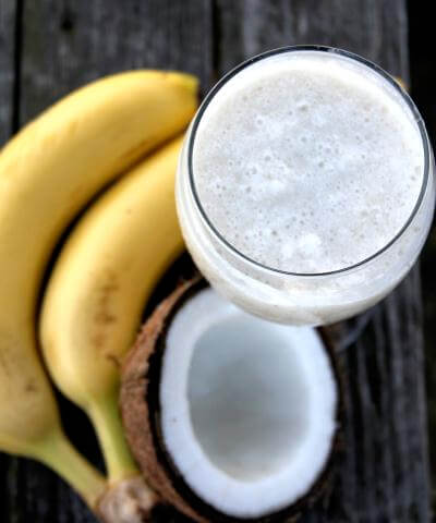Milky coconut smoothie with banana