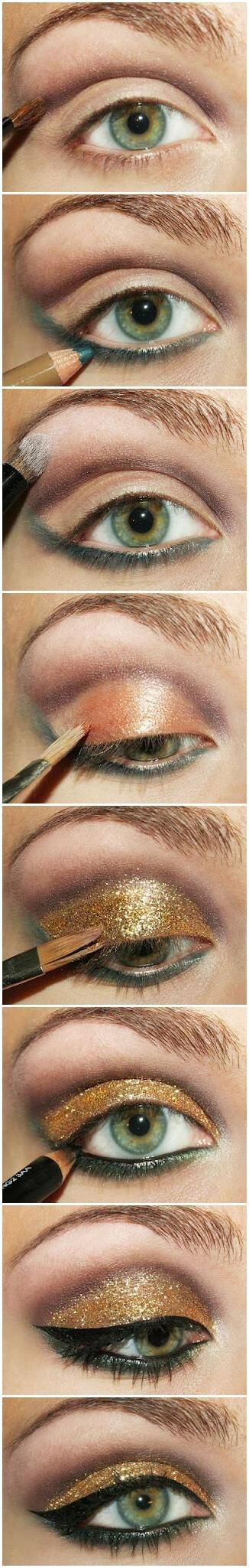 Eyes with gold and brown shimmery eyeshadow and eyeliner