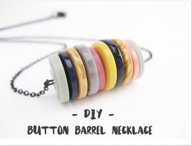 DIY button barrel necklace