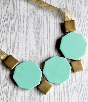 DIY geometric tile necklace